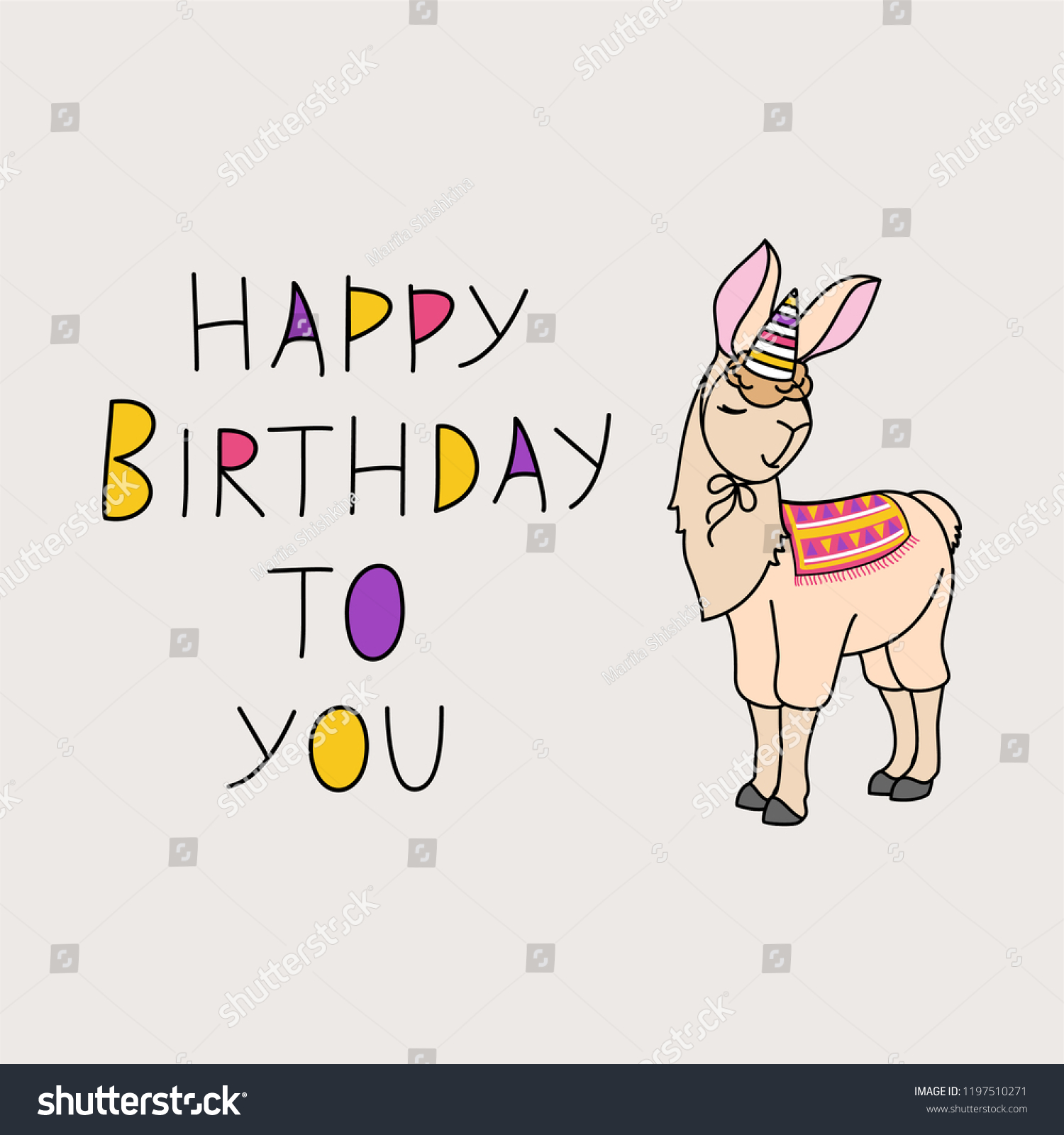 Vector Illustration Of Happy Birthday Beige Llama In A Festive Cap On Gray Background
