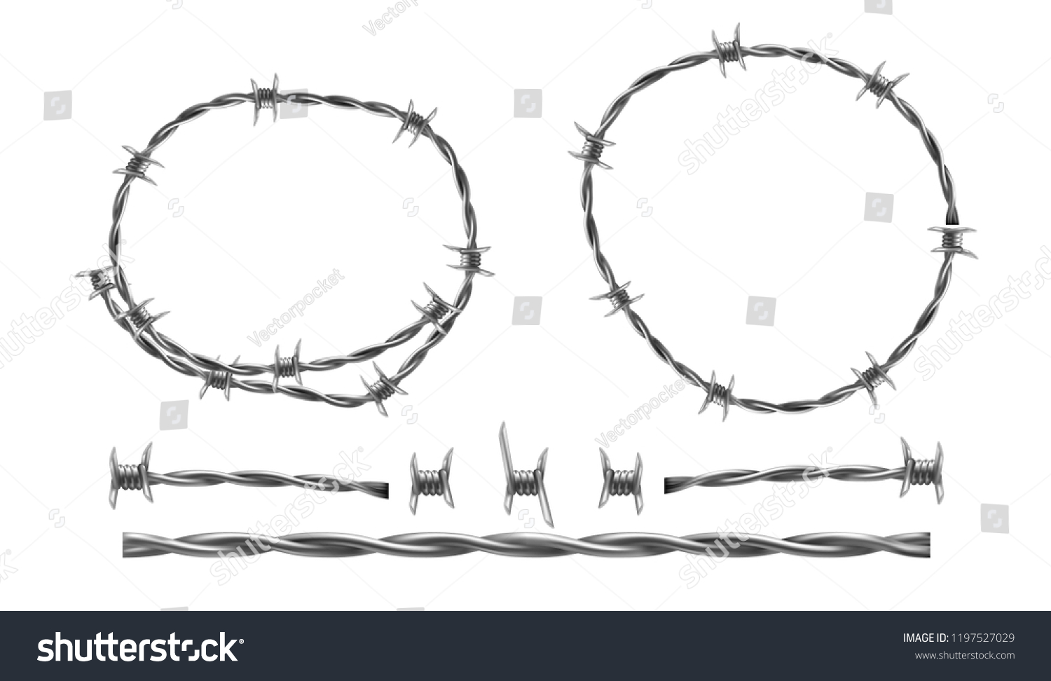 Barbed Wire Vector Realistic Illustration Separate Stock Wiring Diagram Elements Of Barbwire Isolated On White Background Twisted