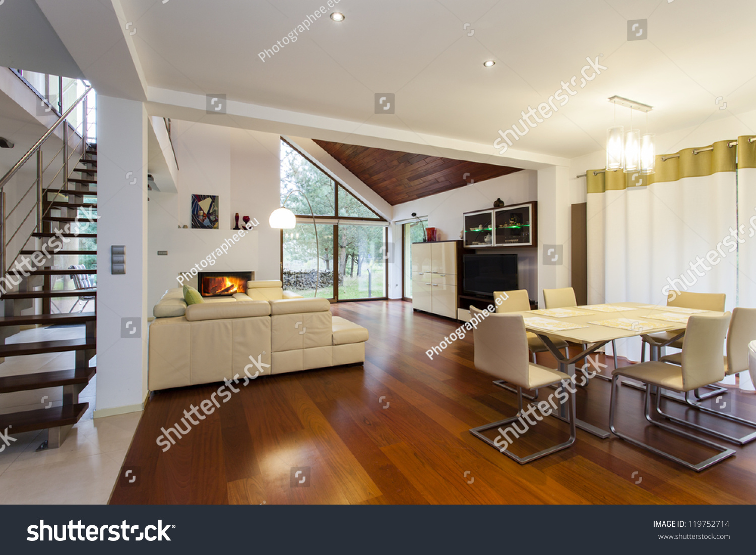 Ground floor of modern house with wooden floor