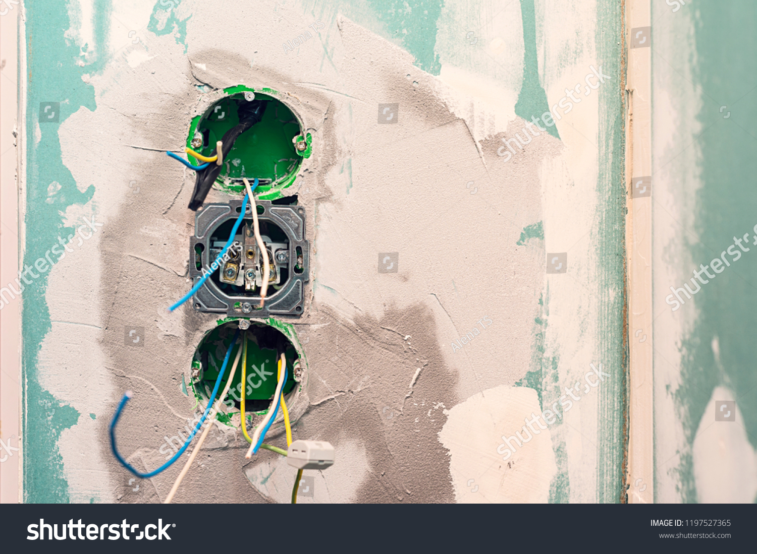 Electrical Outlet Boxes Cables Ready Installation Stock Photo Edit Wiring A Wall Receptacle And For On Drywall Installing Socket Electric
