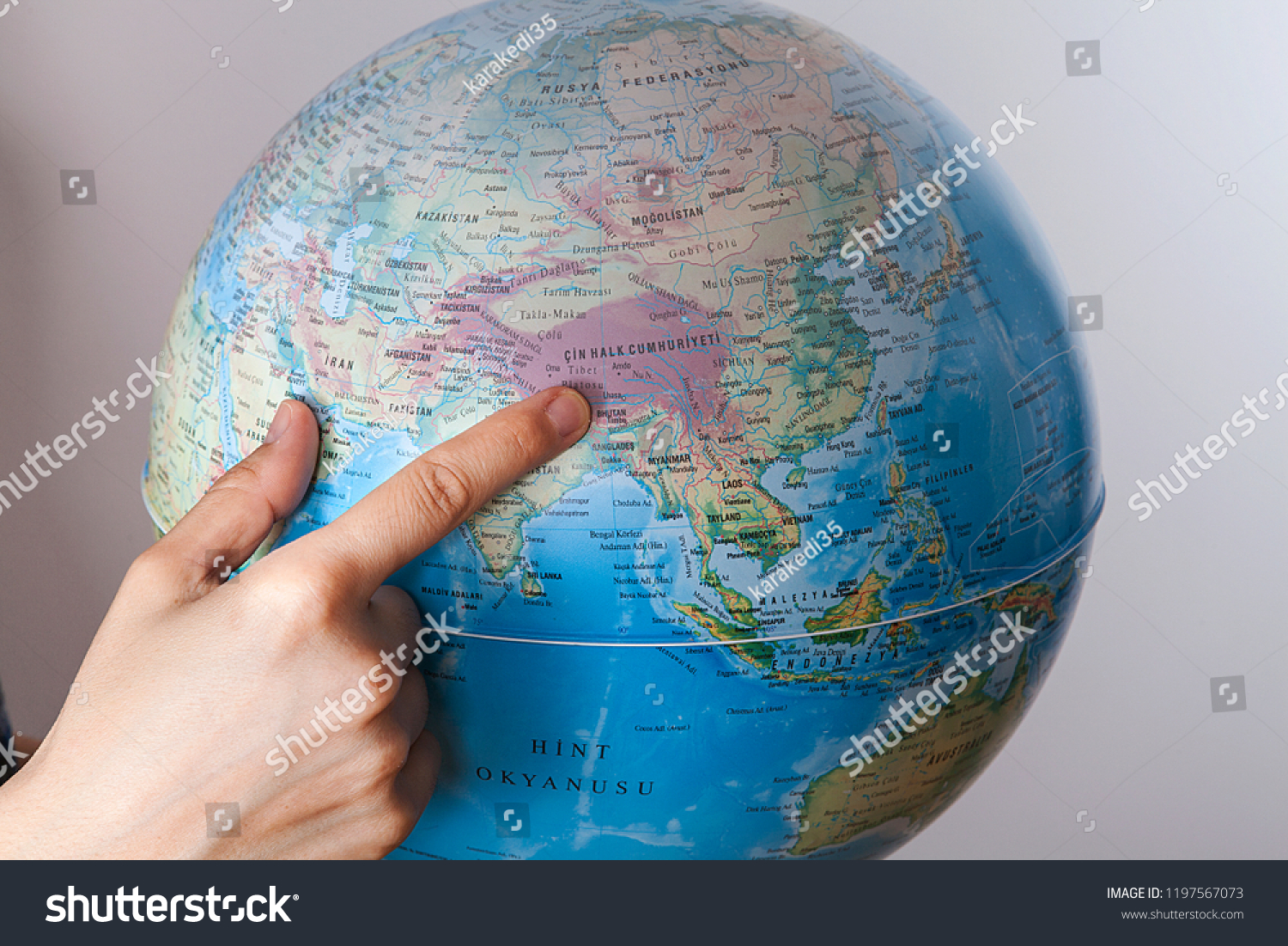 World Map On Hands.Woman Holding World Map Hands Stock Photo Edit Now 1197567073