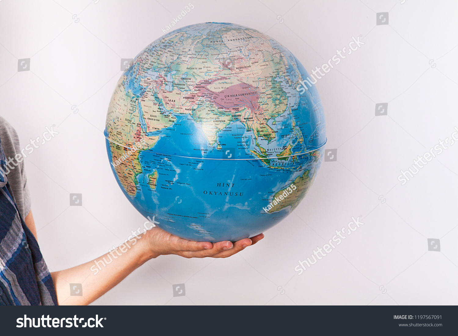 World Map On Hands.Woman Holding World Map Hands Stock Photo Edit Now 1197567091