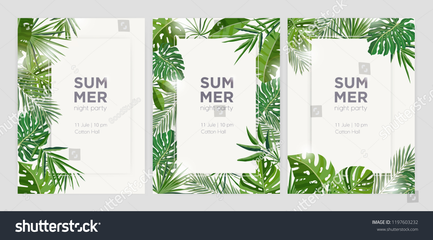 Collection of vertical summer backgrounds with frames or borders made of green tropical palm leaves or jungle exotic foliage and place for text. Seasonal colorful realistic vector illustration.