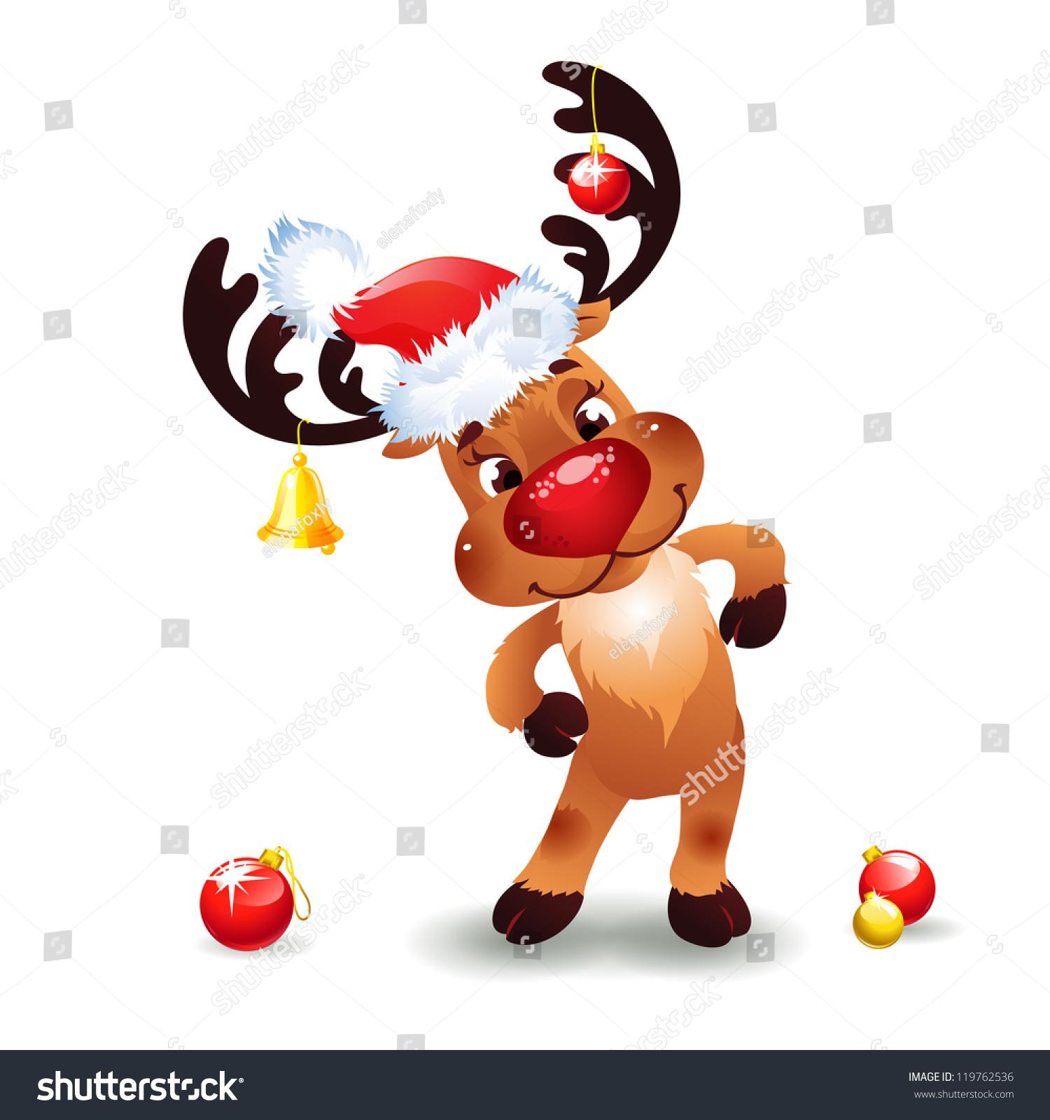 funny reindeer christmas cute santa reindeer stock vector
