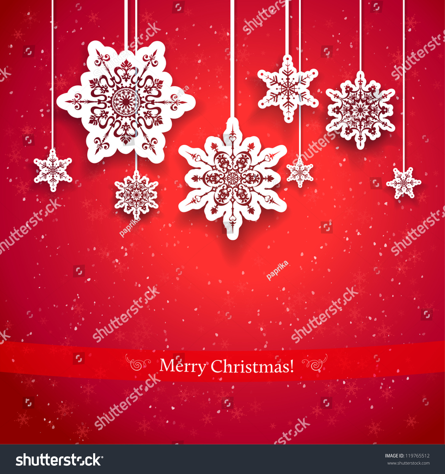 Red christmas design decorative snowflakes stock vector