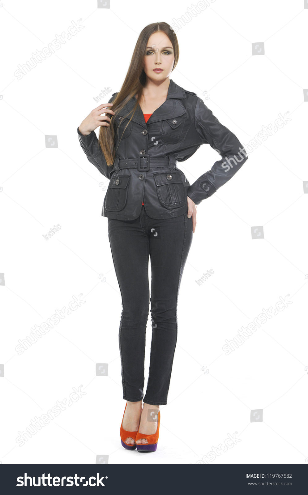 full body beautiful girl with long hair is in fashion