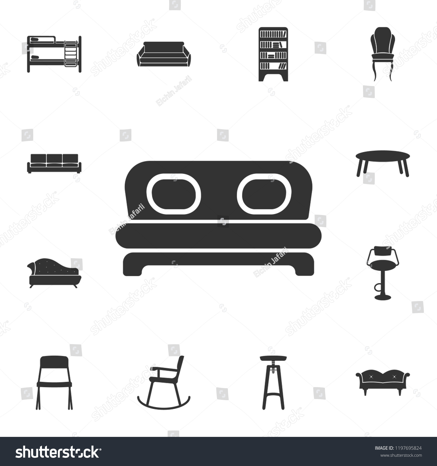 Royalty Free Stock Illustration Of Sofa Icon Detailed Set Furniture