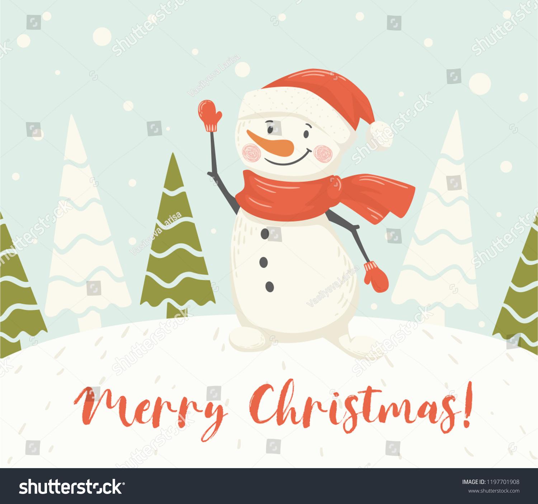christmas snowman scandinavian card new year greeting merry christmas text slogan winter landscape