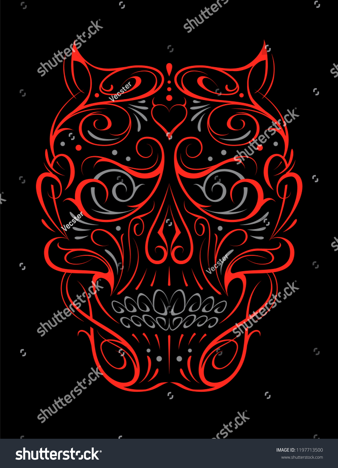 Abstract skull shape red pattern vector art of gothic tattoo ornament with devil skull shape