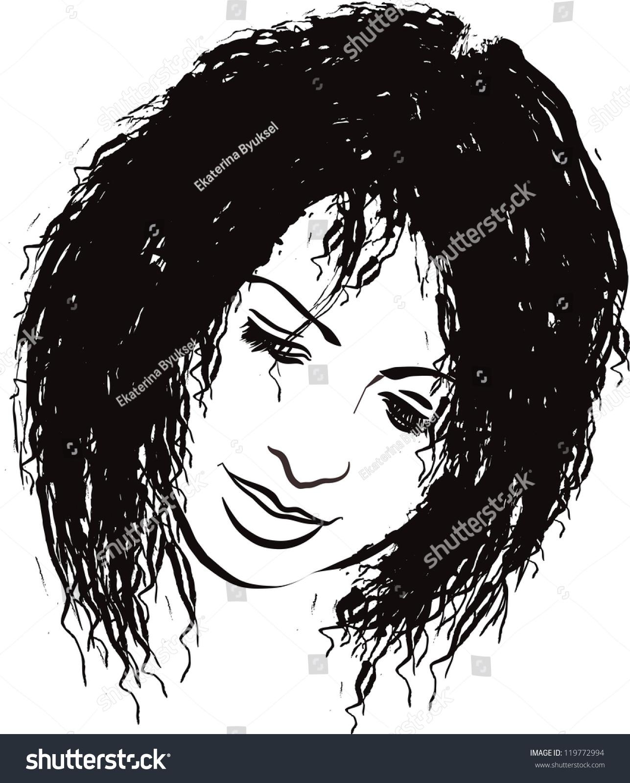 Beauty Face Girl Portrait Vector Illustration