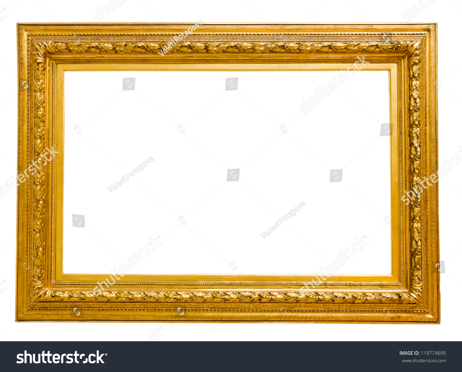 2349b5b09749 Vintage Gold Frame Isolated On White Stock Photo Edit Now