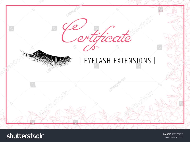 Diploma Eyelash Extensions Makeup Certificate Template Stock Vector