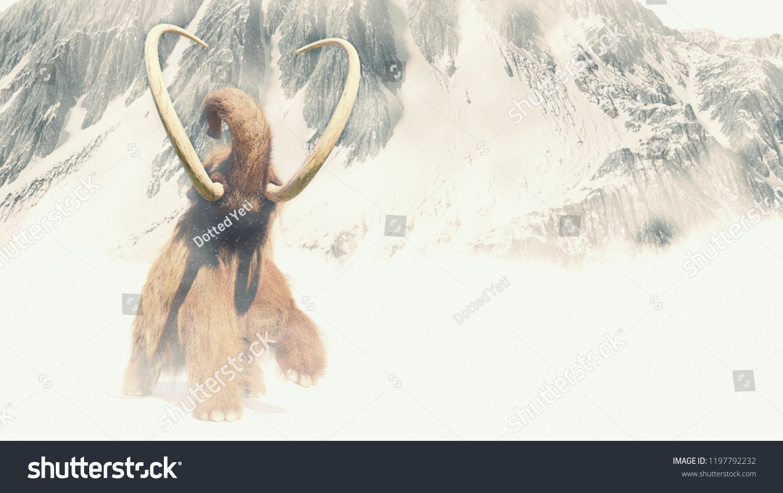 Woolly Mammoth Snow Storm Prehistoric Mammal Stock Illustration ...