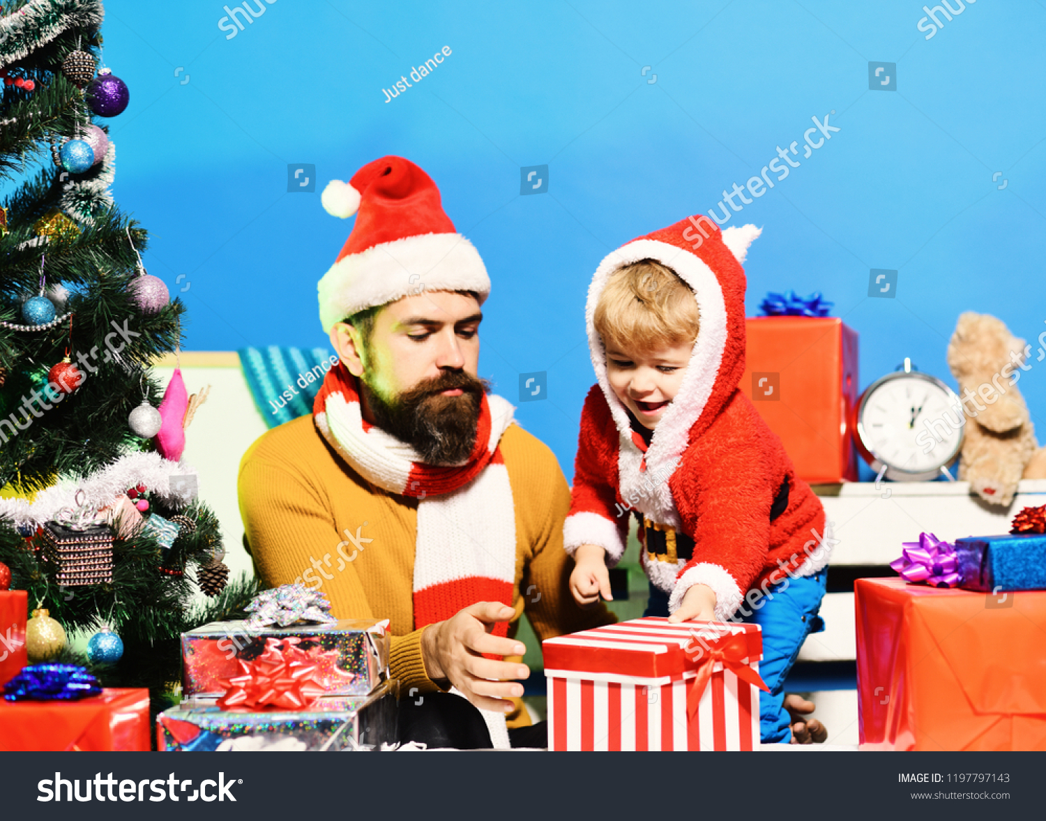 Santa Little Assistant Among Gift Boxes Stock Photo (Edit Now ...
