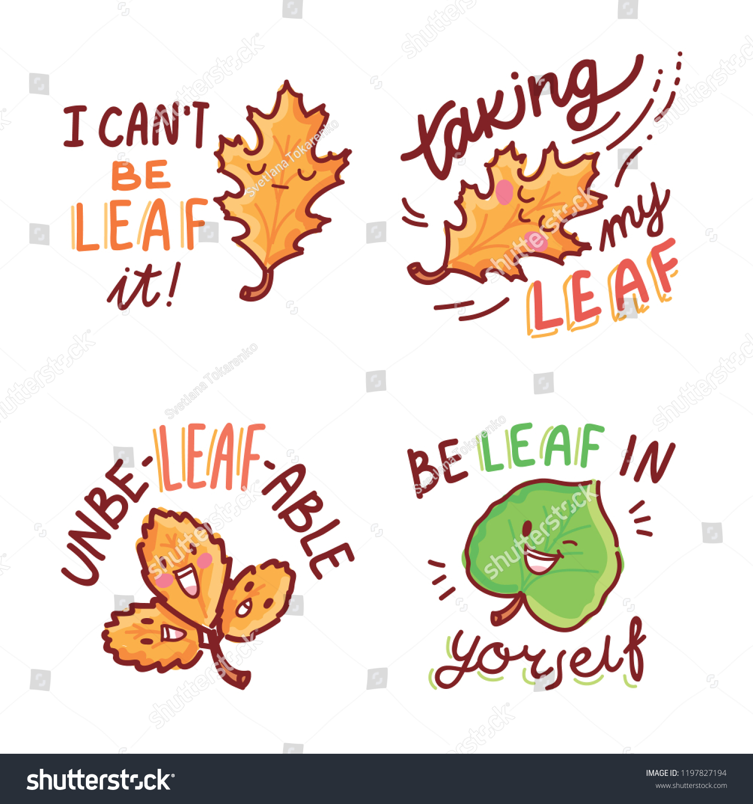 Set Cute Fall Autumn Puns Play Stock Vector (Royalty Free) 1197827194