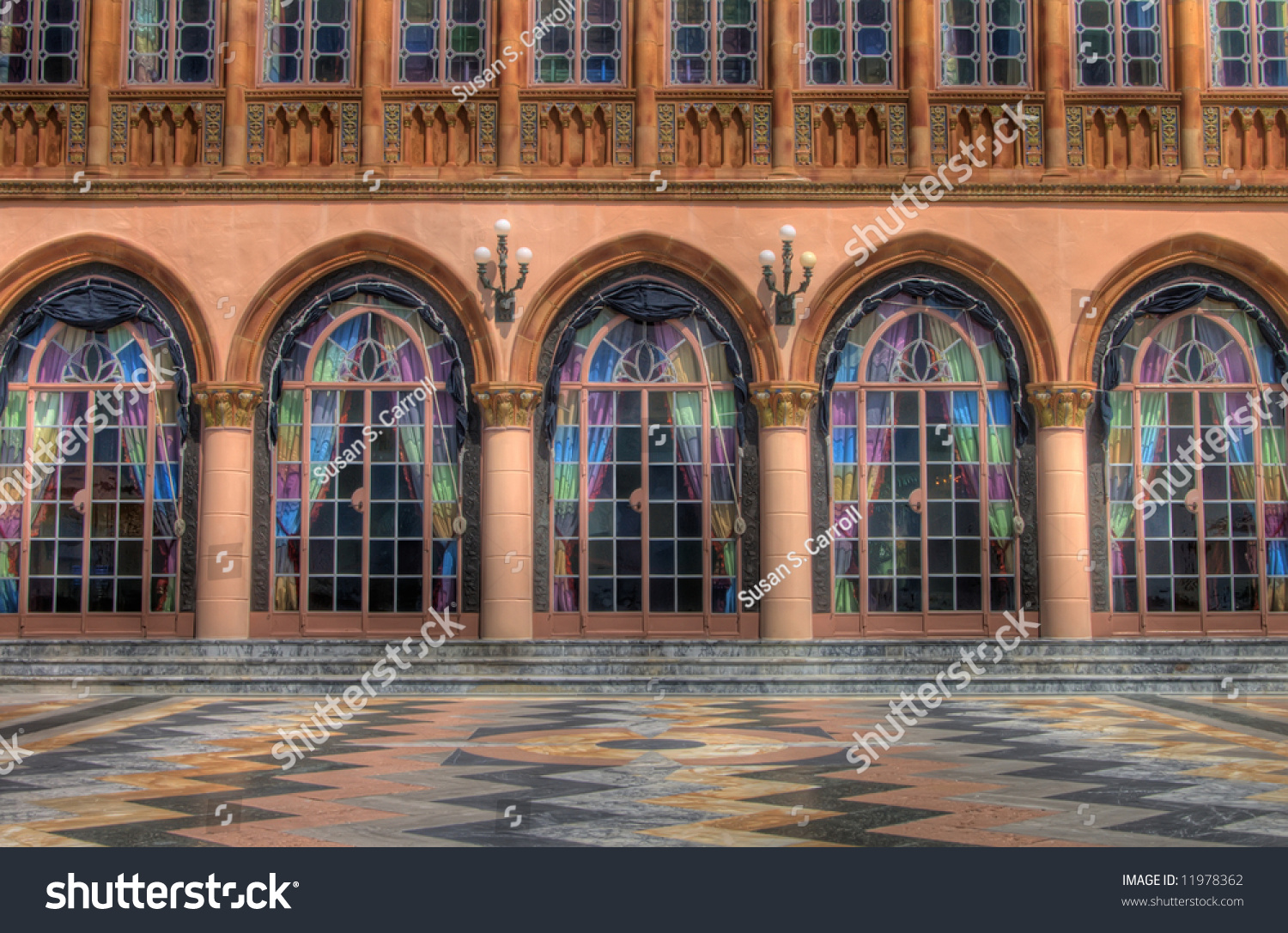 Venetian Style Terrace With Stained Glass Doors Stock