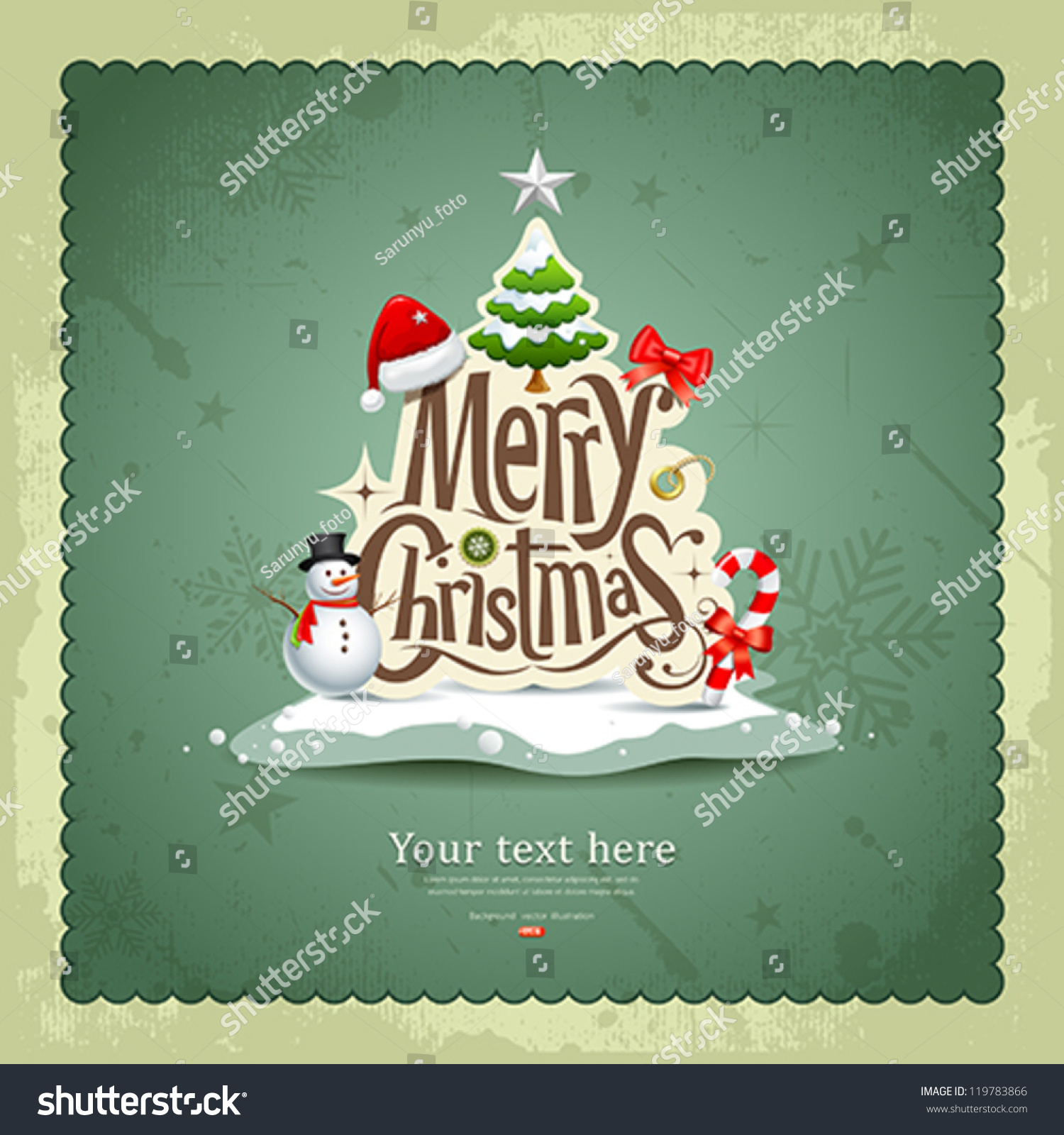 Greeting Card Merry Christmas Stock: Merry Christmas Vintage Design Greeting Card Stock Vector