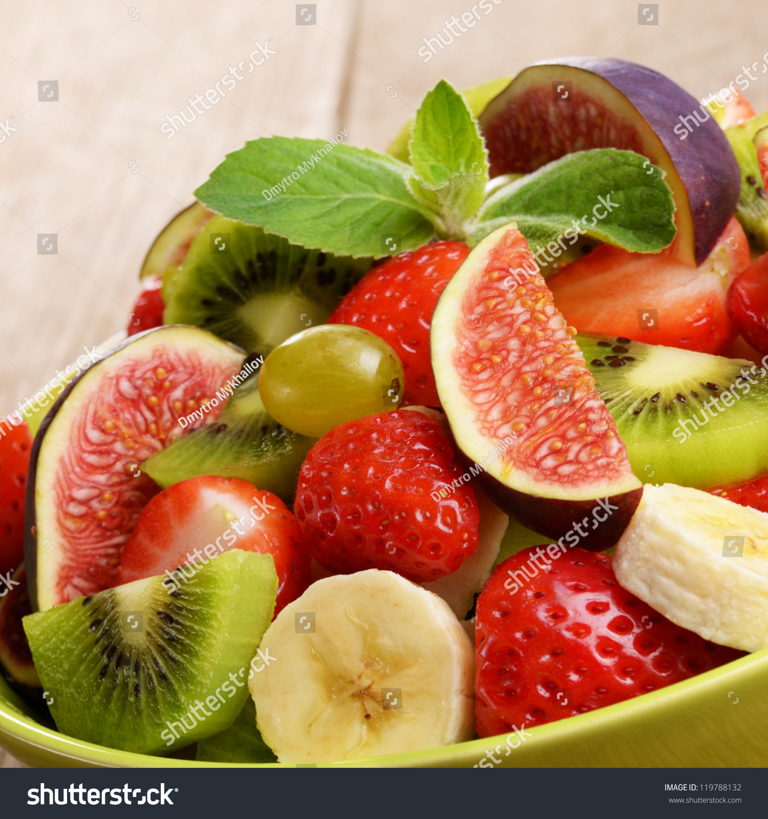 Healthy Mixed Fruit Salad On Kitchen Stock Photo (100% Legal ...