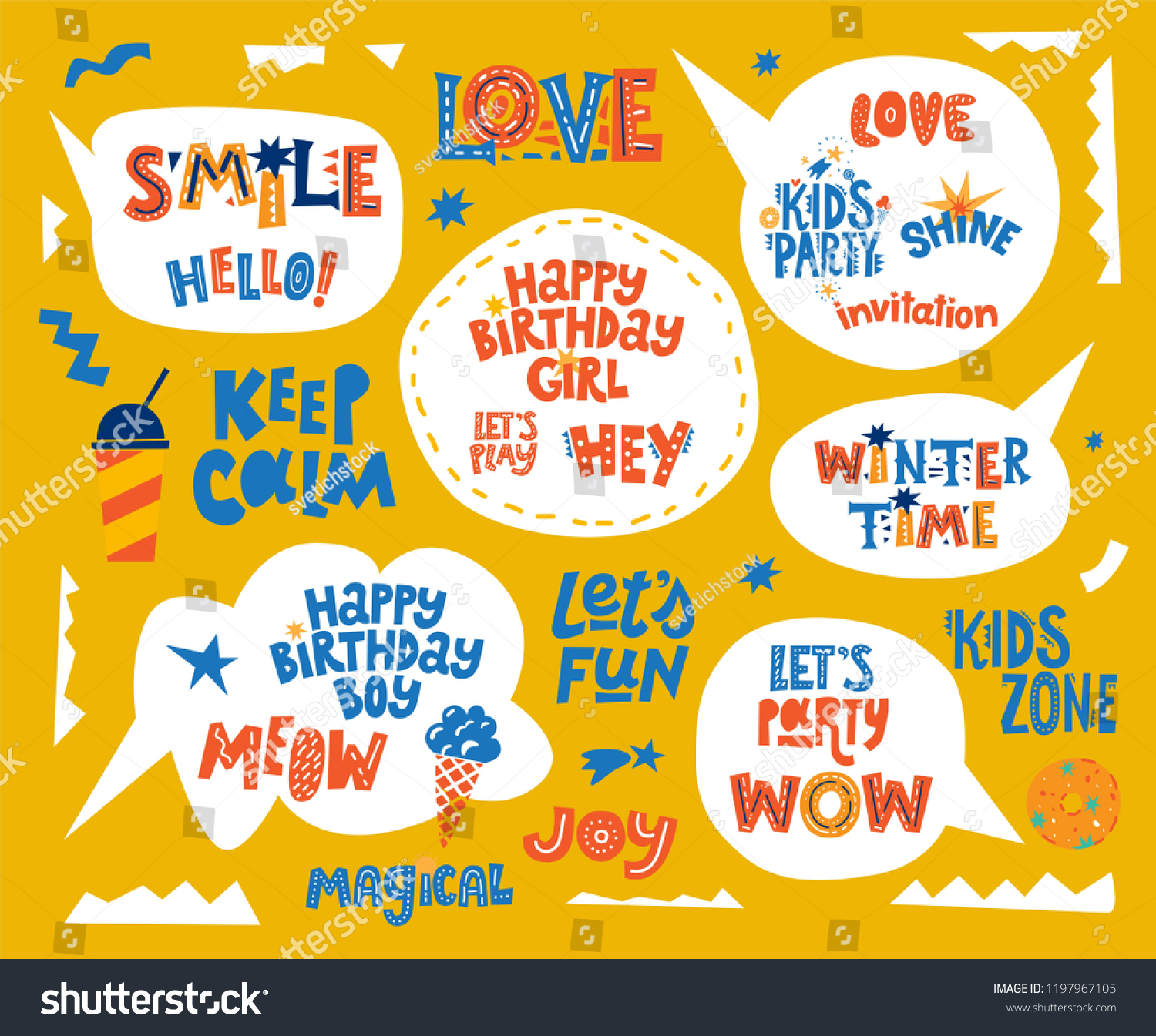 Hand Drawn Lettering Quotes Set Speech Stock Vector Royalty Free