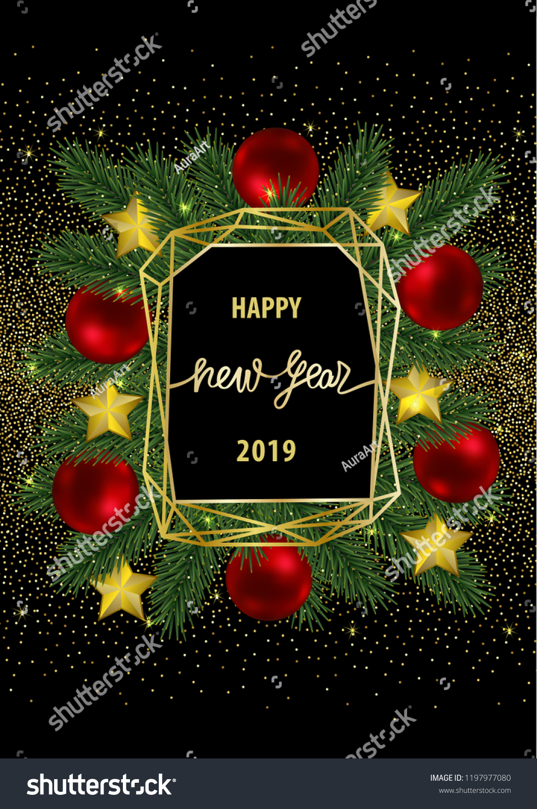 Happy New Year 2019 Card Gold Stock Vector Royalty Free 1197977080