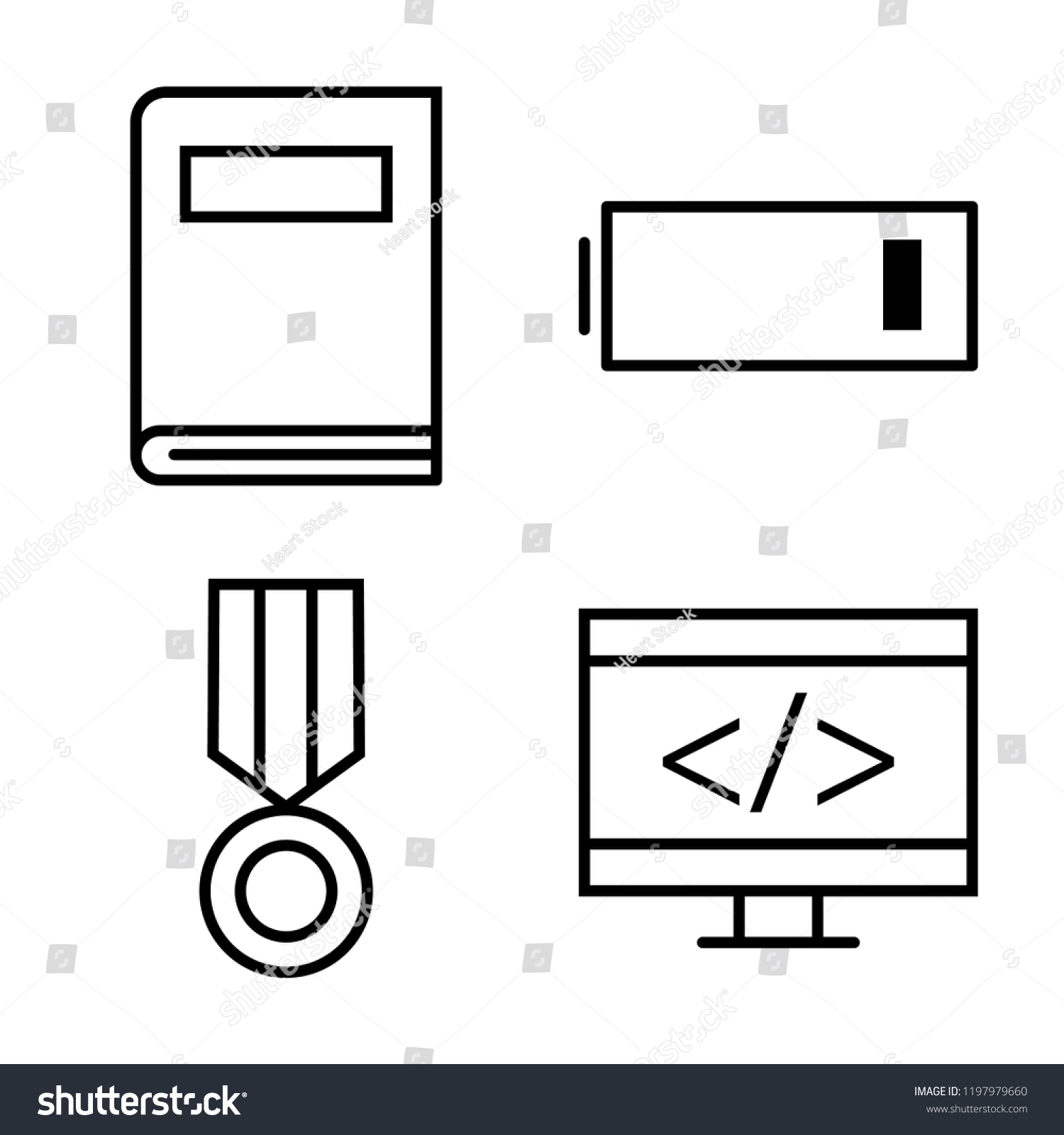 Set 4 Simple Vector Icons Such Stock Royalty Free Battery Cell Diagram Editable Powerpoint Template Of As Book Low Medal Coding