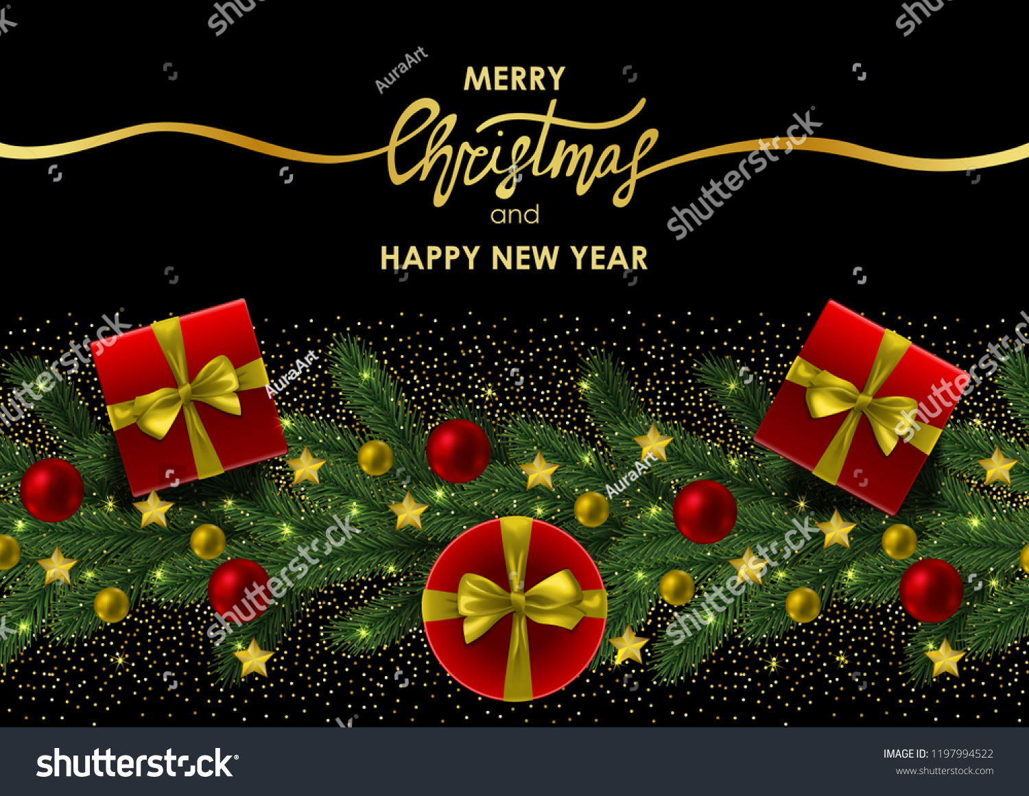 merry christmas and happy new year invitation card with gold lettering on black background a4