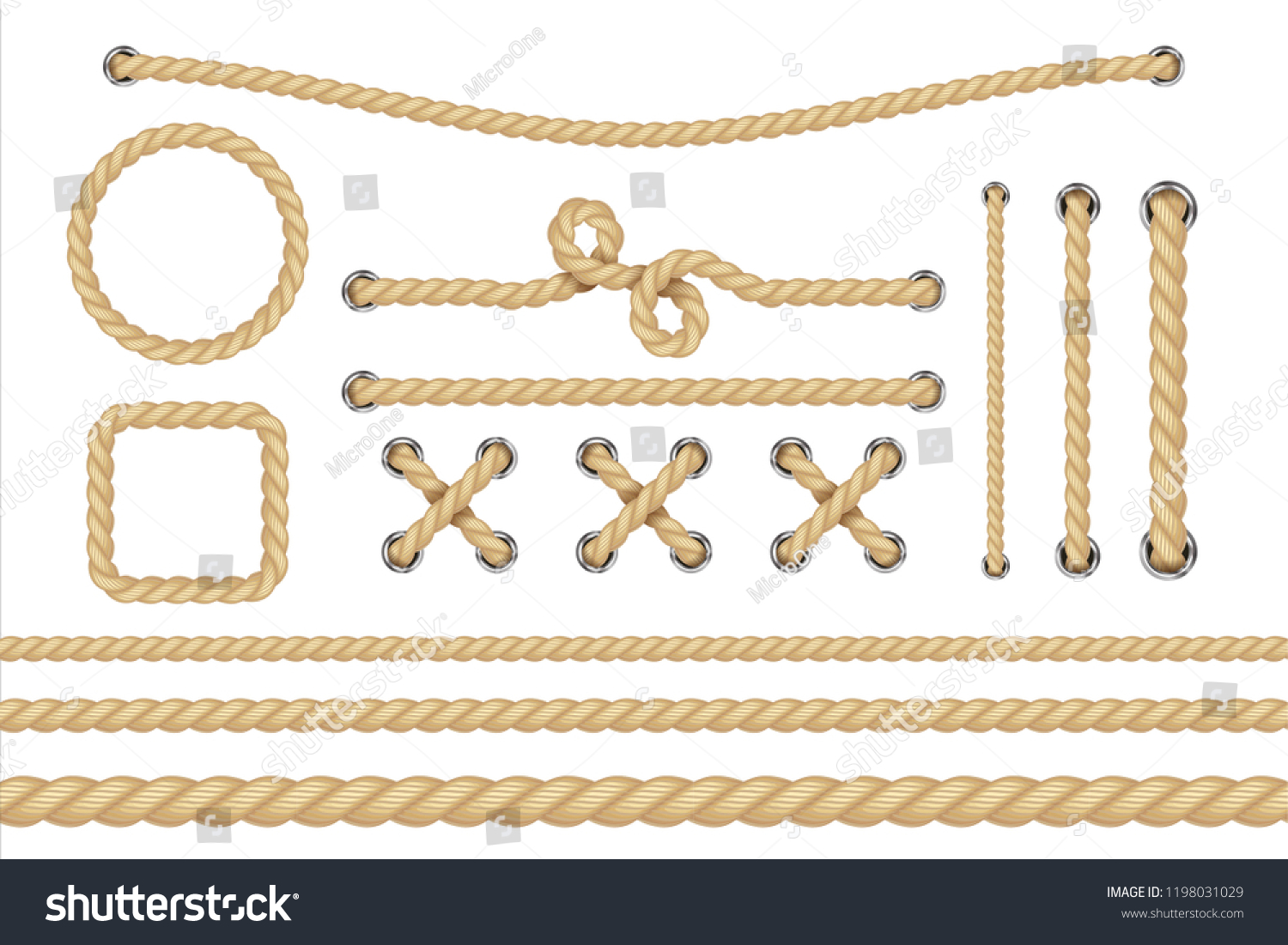 Nautical rope. Round and square rope frames, cord borders. Sailing vector decoration elements. Rope marine, nautical border, cord round, string knot twisted illustration #1198031029