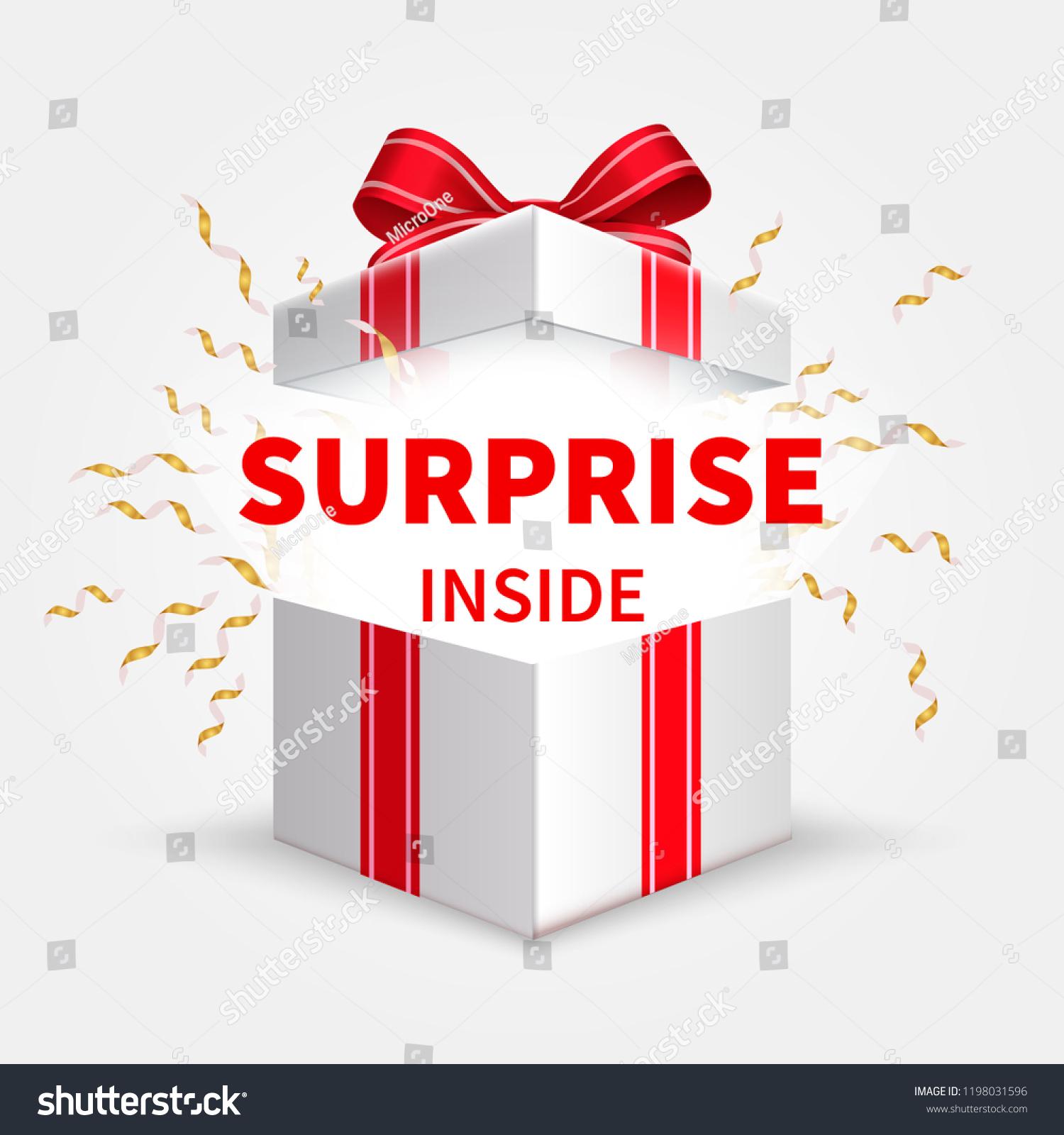 Gift Box Ribbon Opening White Box Stock Vector (Royalty Free ...