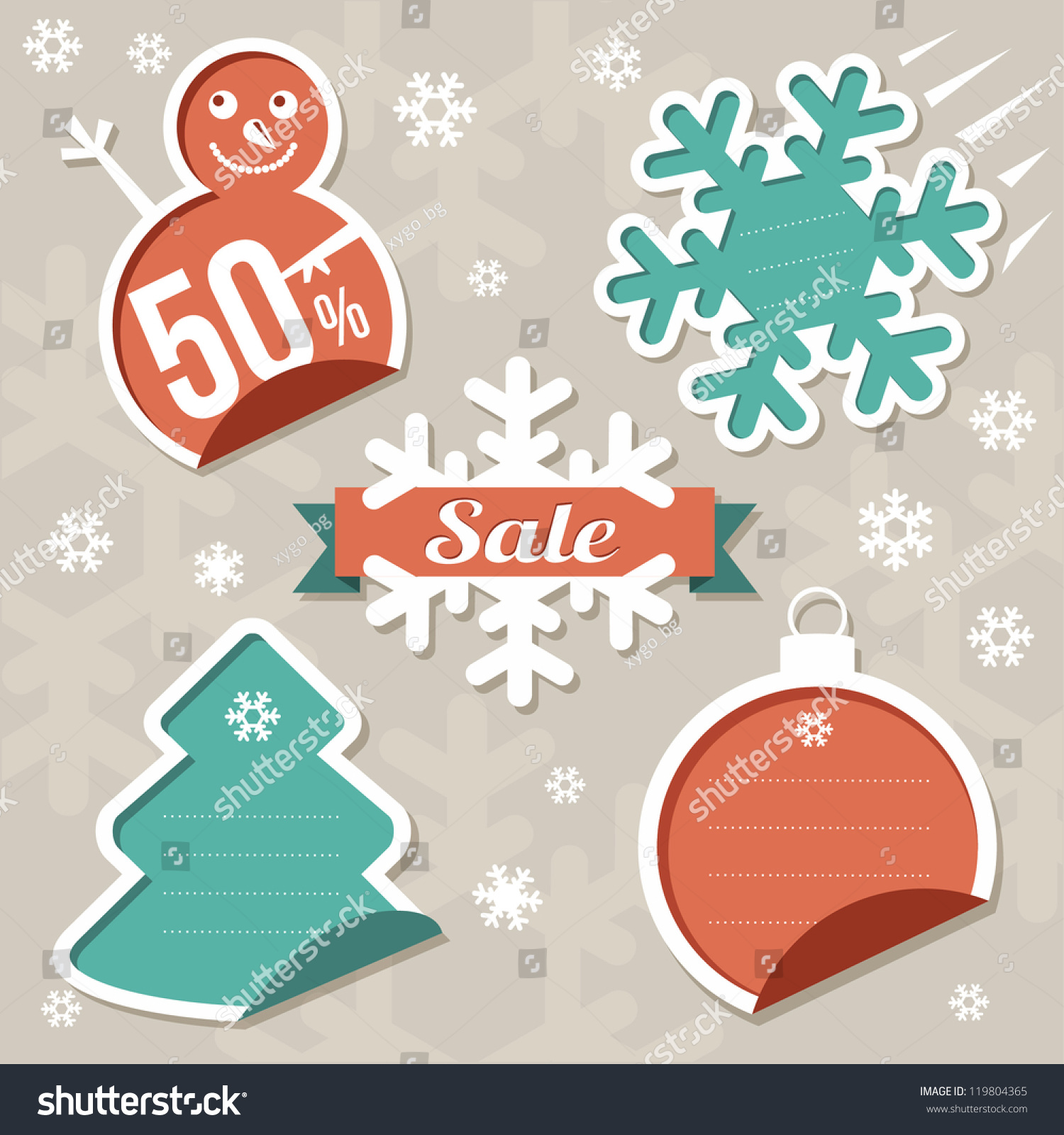 christmas sticker tags sale stock vector 119804365 shutterstock