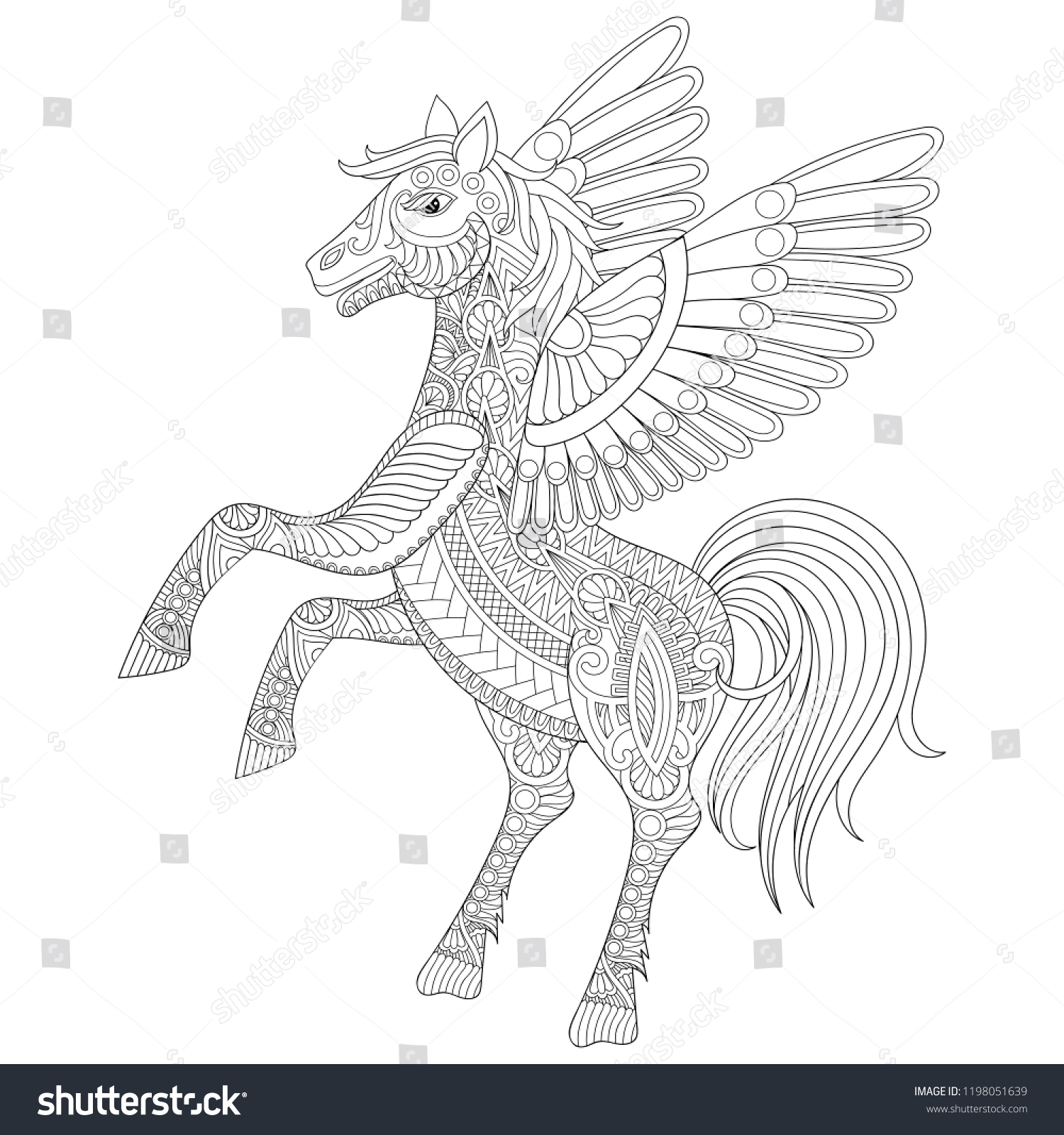 Coloring Book Cover Pegasus Adult Coloring Stock Vector Royalty Free 1198051639