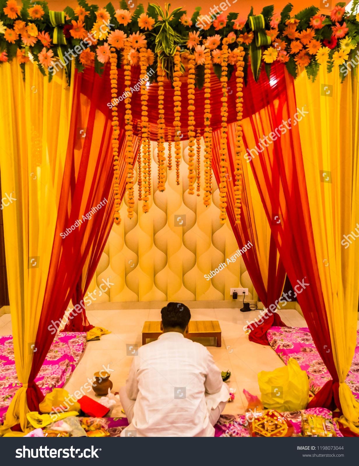 Indian Wedding Decorationindian Wedding Set Mandap Stock