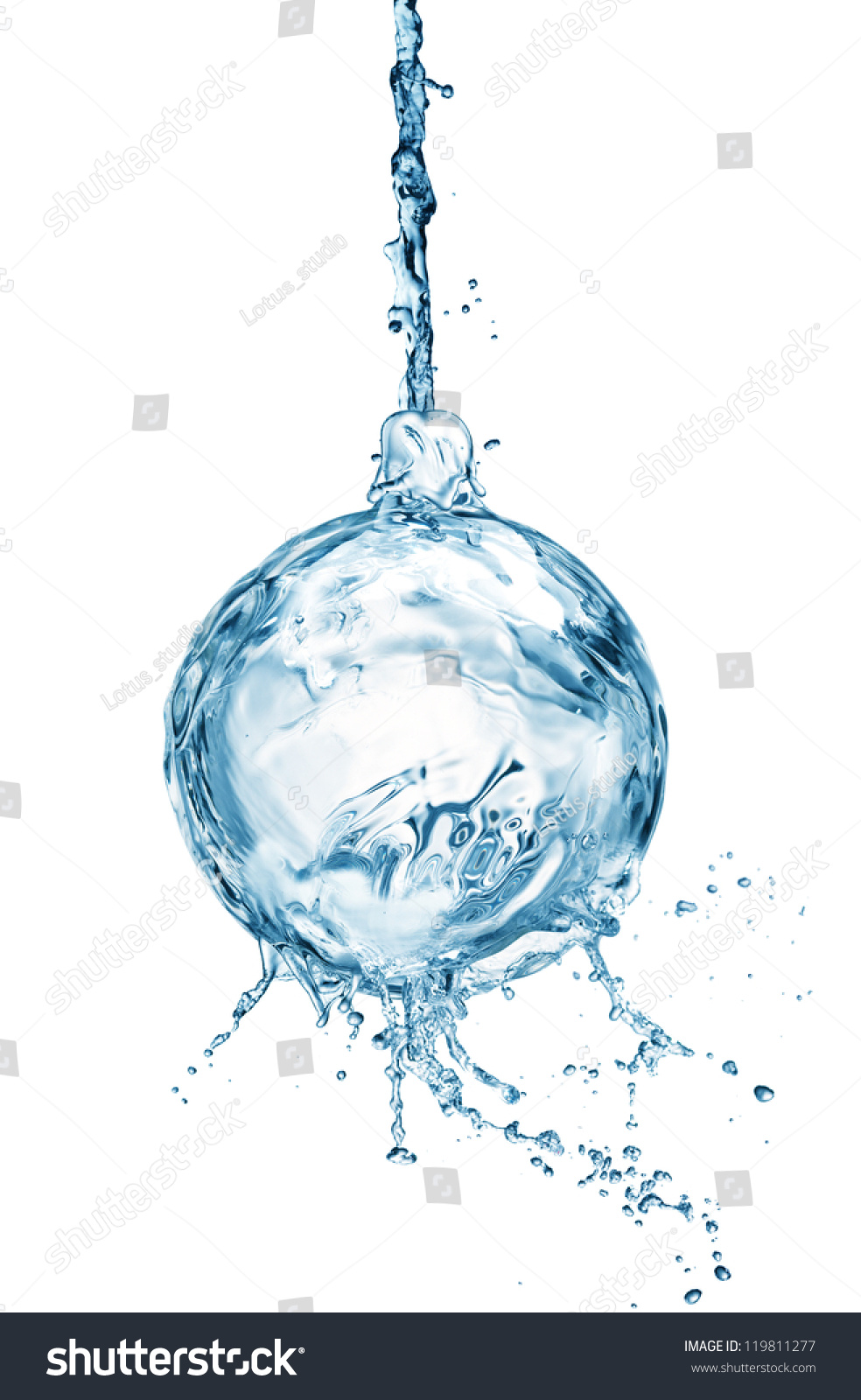 Christmas ball from water splash with bubbles isolated on