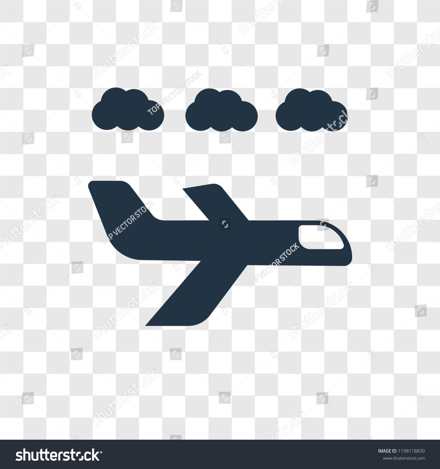 Airplane Vector Icon Isolated On Transparent Signs Symbols Stock