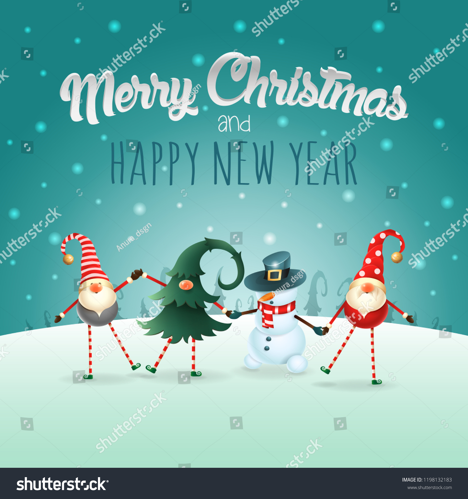 merry christmas and happy new year greeting card with text happy friends celebrate christmas on