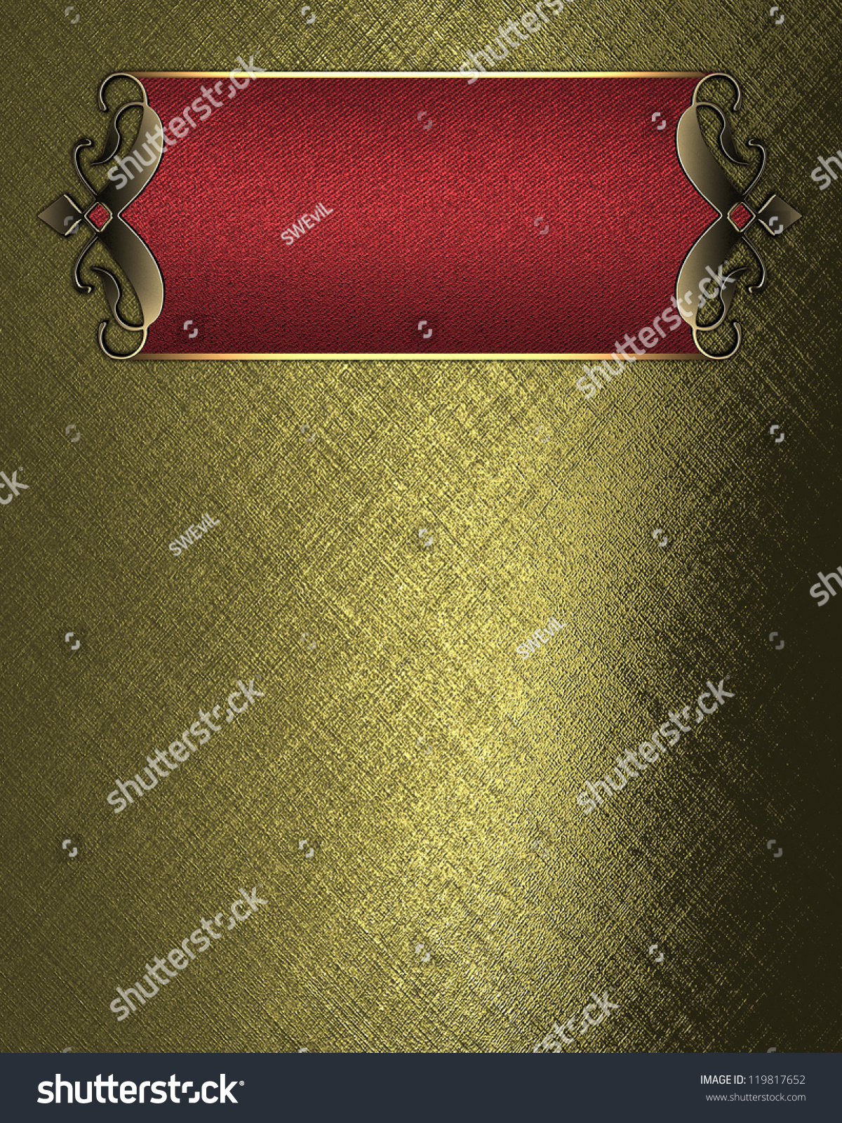 Template Writing Gold Background Red Nameplate Stock Illustration