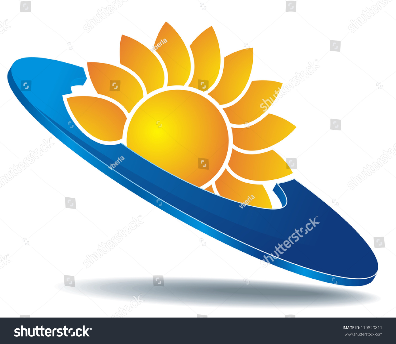 Icon Sun Abstract Yellow Flower On Stock Illustration 119820811
