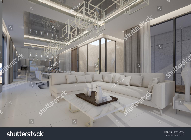 Interior Design Luxury Penthouse High Rise Stock Illustration 1198293634