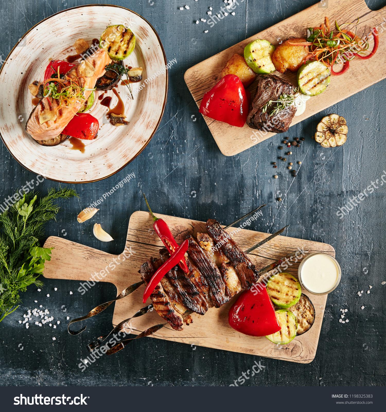 Set Restaurant Barbecue Menu Grilled Salmon Stock Photo Edit Now