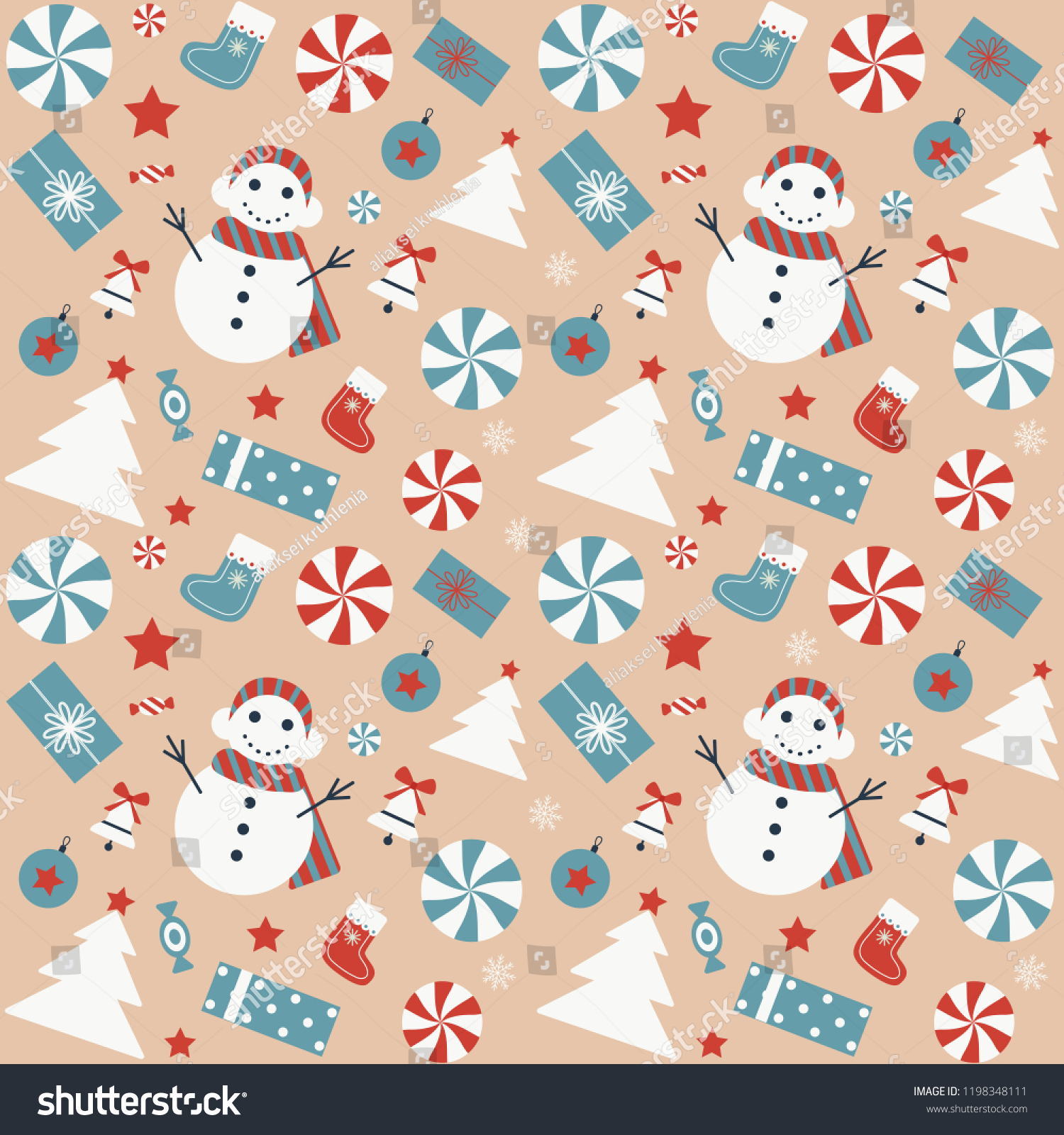 Christmas Seamless Pattern Snowman Xmas Tree Stock Vector Royalty