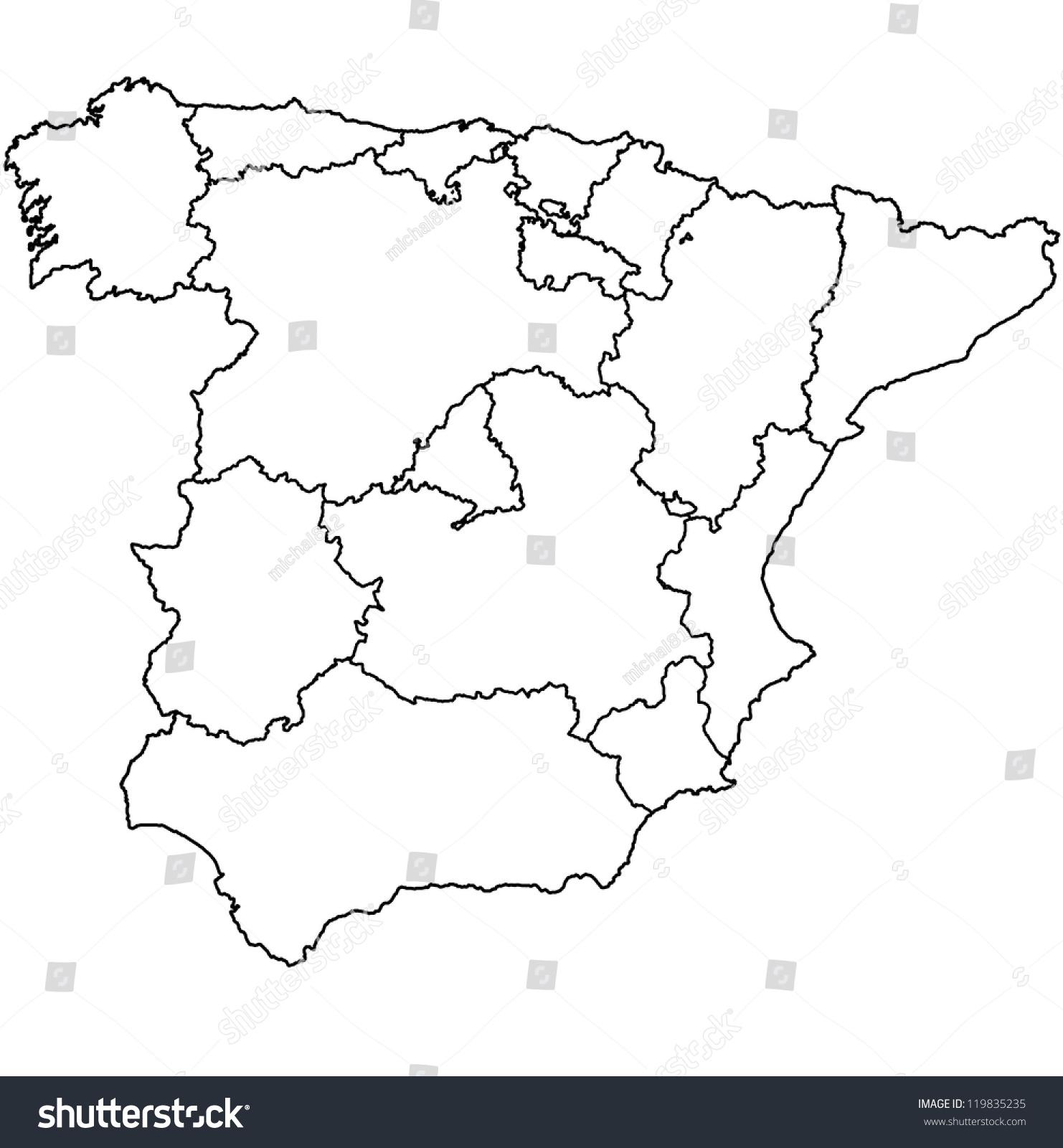 Regions Spain On Administration Map Borders Stock Illustration ...