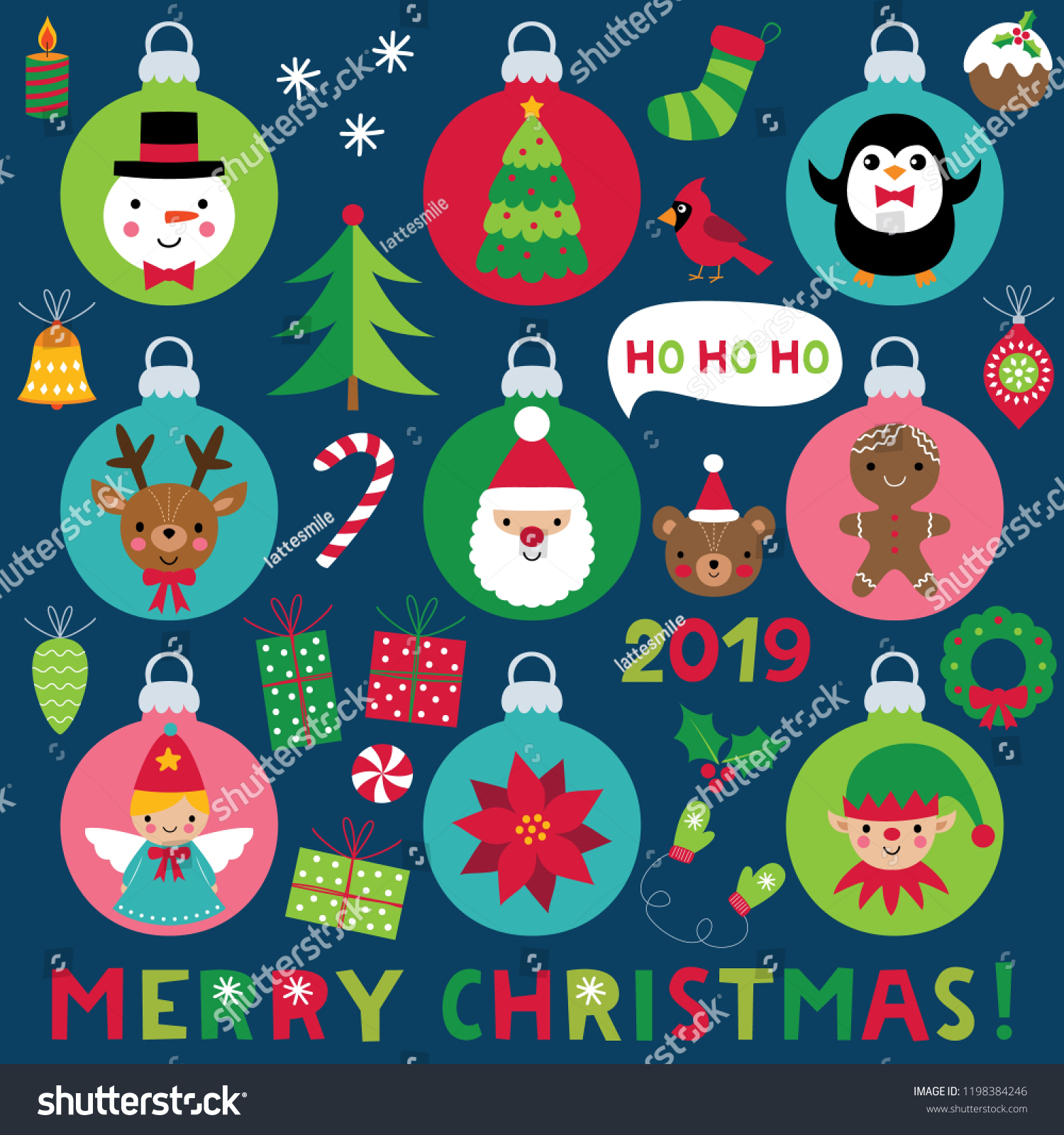 Christmas Balls Cartoon Characters Decoration Vector Stock Vector