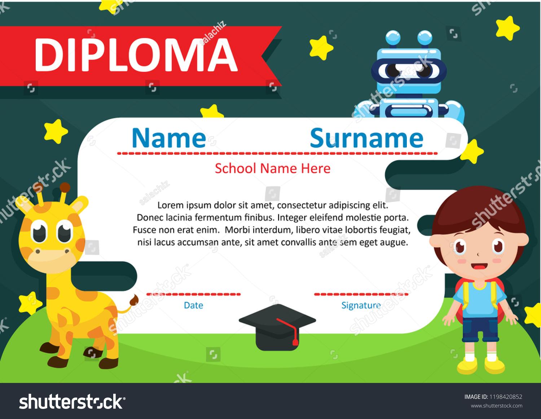 template kindergarten certificate award children illustration stock