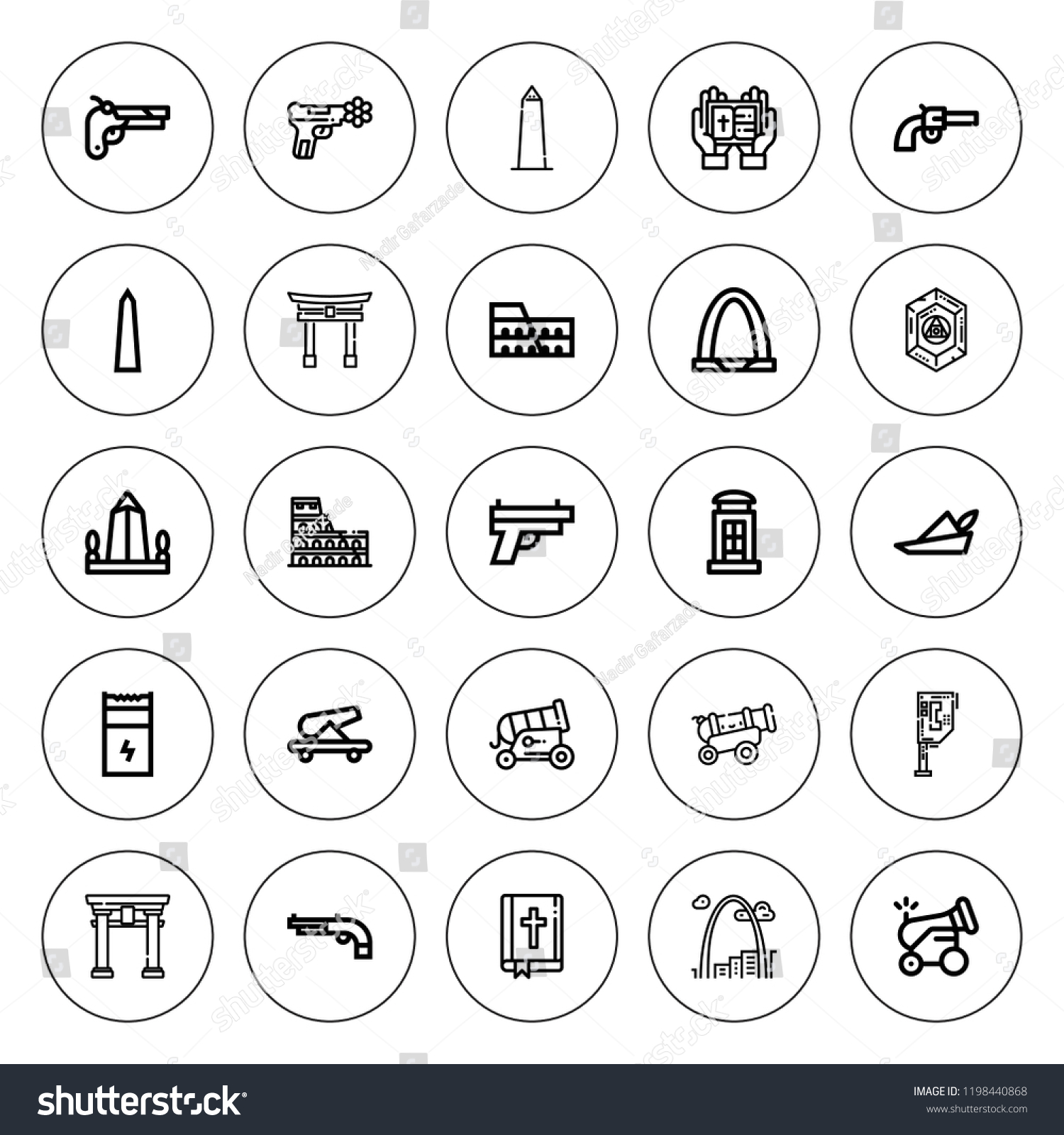 Historic Icon Set Collection 25 Outline Stock Vector (Royalty Free
