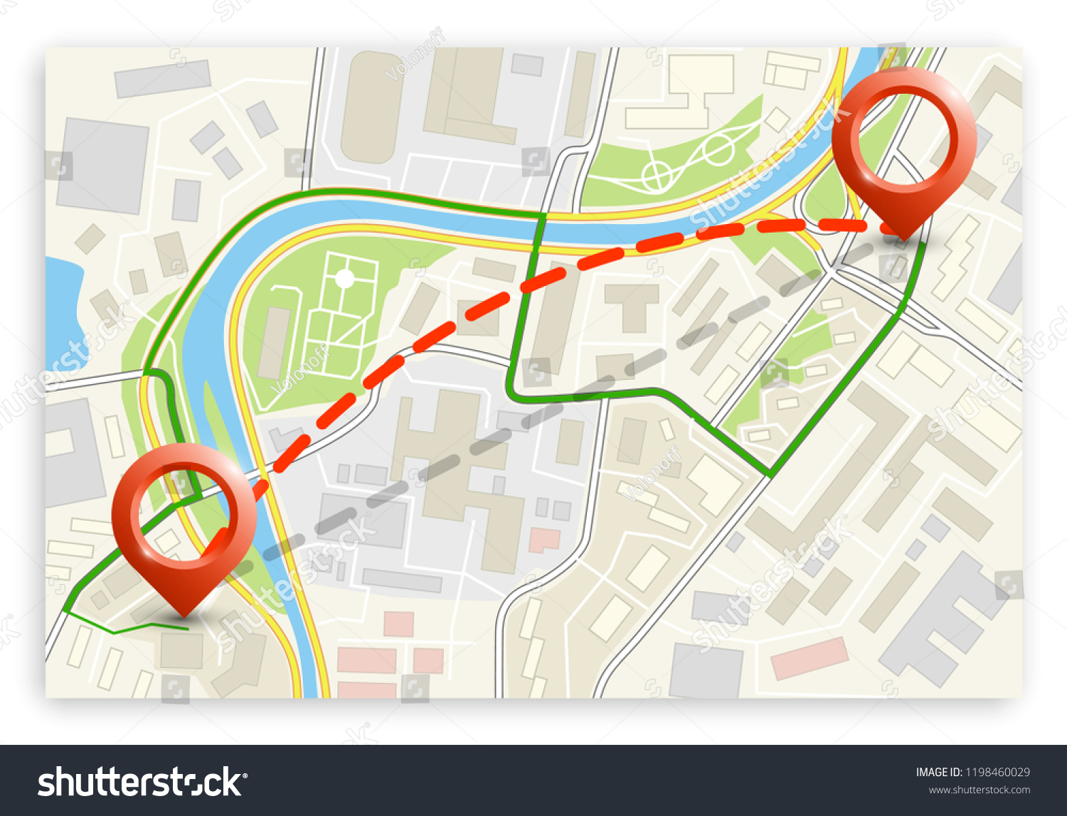 City Map Navigation Route Color Point Stock Vector Royalty Free Schema Of Origami Mobile Crane 2 Markers Design Background Drawing Simple