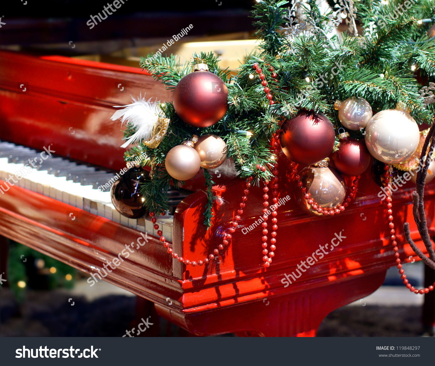 Red piano christmas decorations stock photo