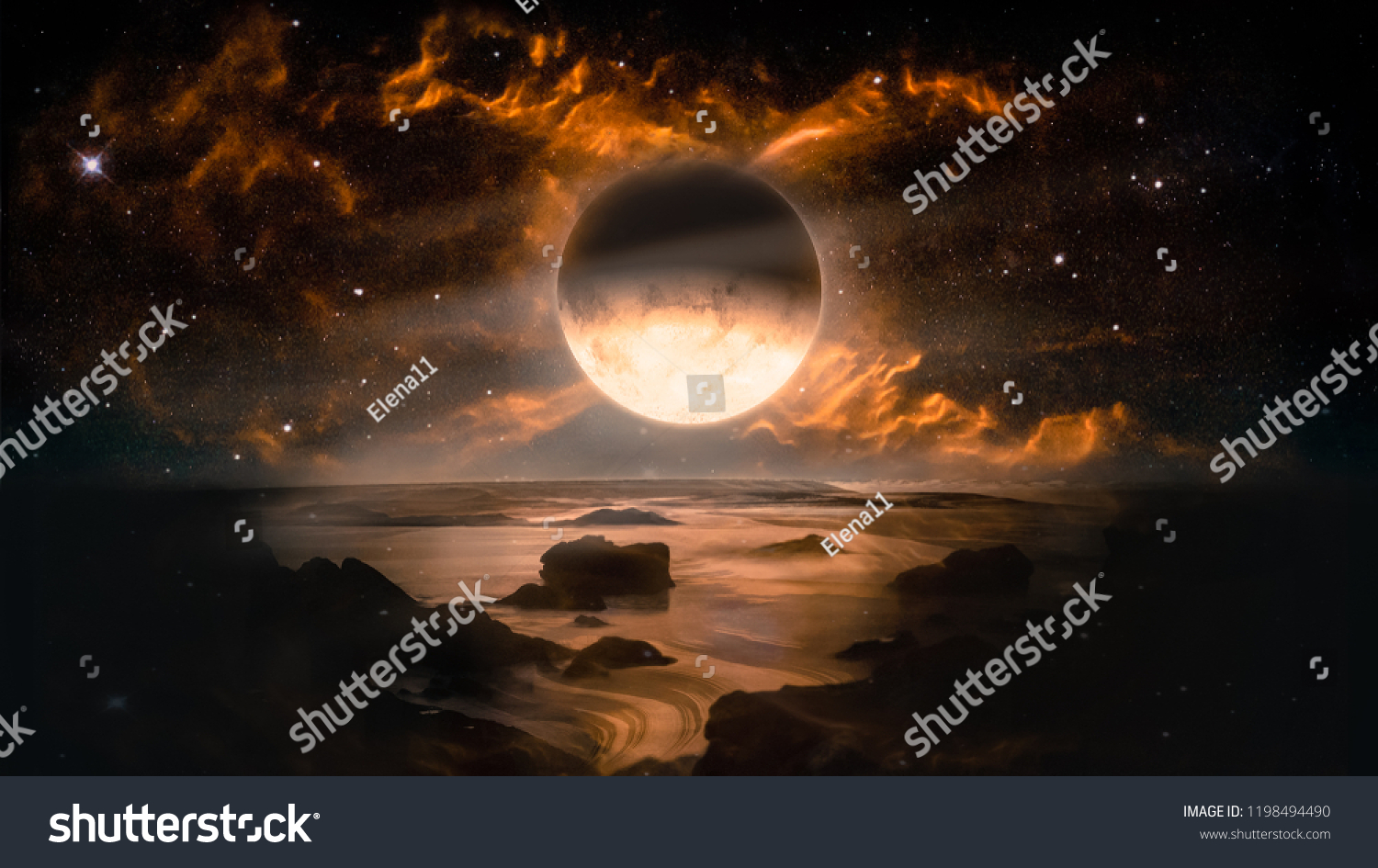 Landscape in fantasy alien planet with flaming moon and galaxy background. Elements of this image furnished by NASA #1198494490