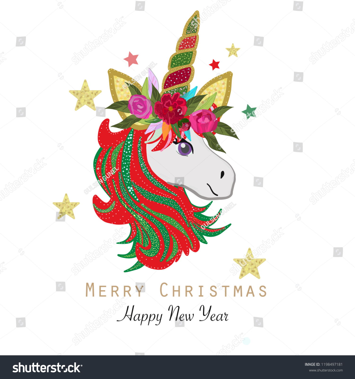 merry christmas magical unicorn happy new year and merry christmas greeting card