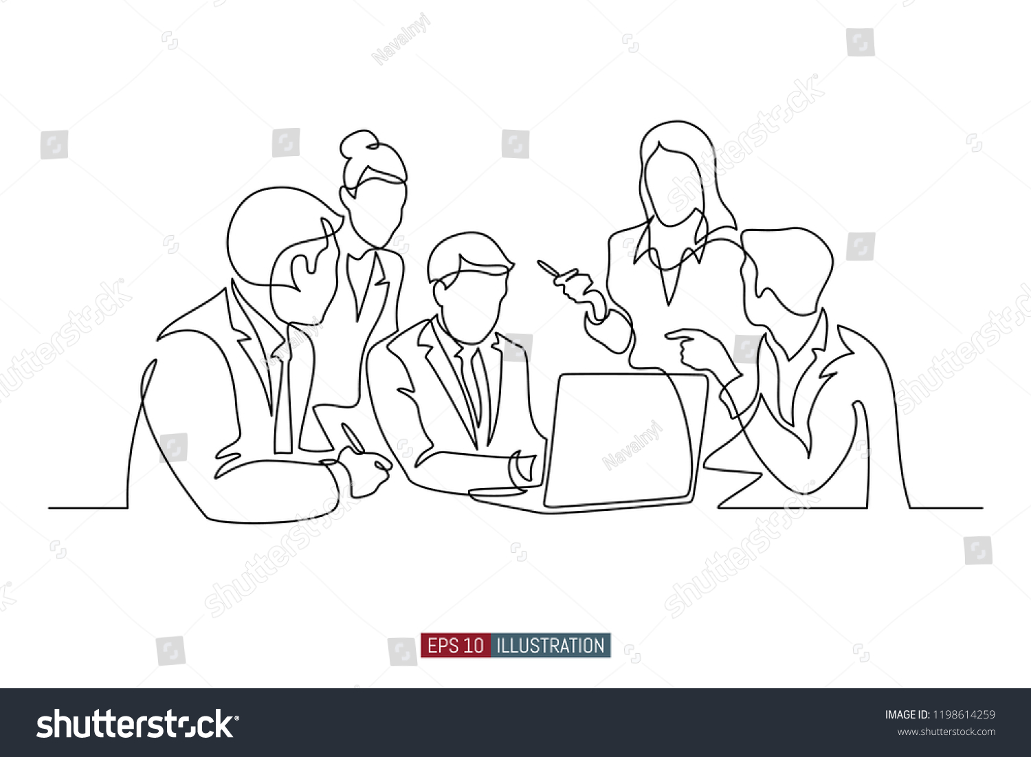 continuous line drawing business brief presentation stock vector