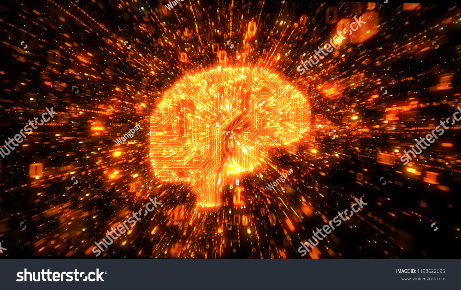 Royalty Free Stock Illustration Of Digital Circuitry Brain Orange An Electronic Calculator Photography With Streams Exploding Binary Data