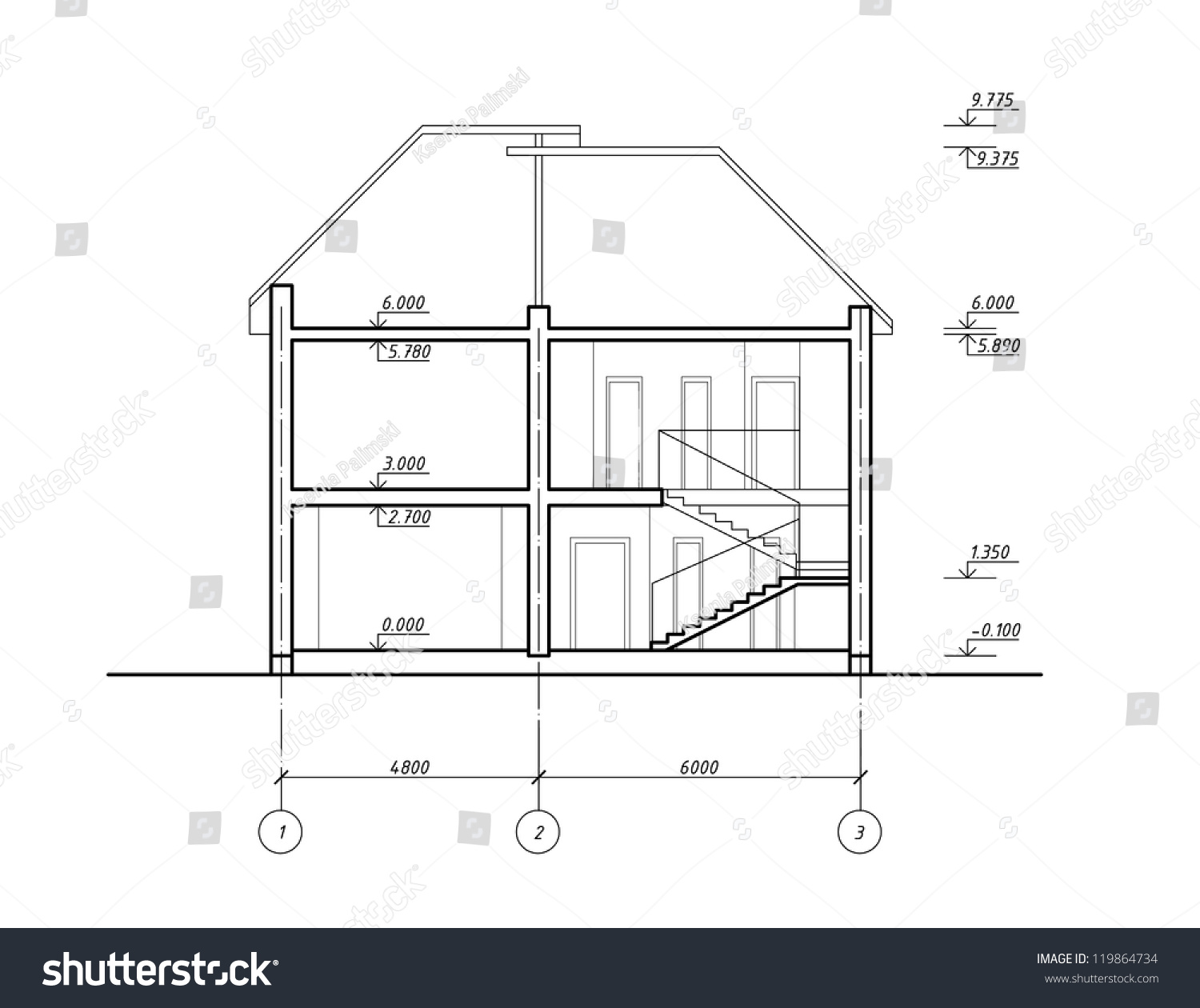 House Section Cad Drawing Blueprint Stock Illustration